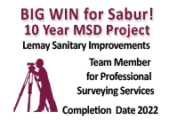 Big Win for Sabur, 10 year MSD Project Team Member for Professional Surveying Services Completion Date 2022